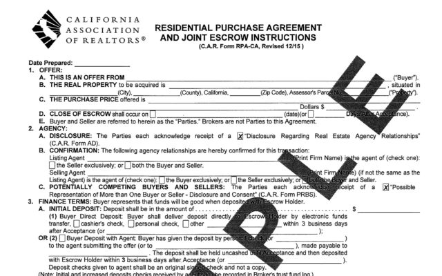 California Residential Purchase Agreement  Sycamore Realty Group